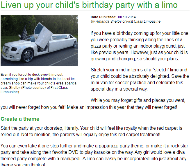liven up your childs birthday party with a limo